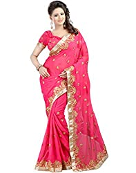 Rudra Fab Emboidered Fashion Georgette Saree (Pink)
