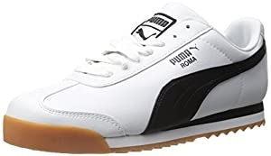 PUMA Men's Roma Basic Lace-Up Fashion Sneaker, White/Black, 10.5 M US