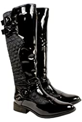 Womens Quilted Twin Buckle Riding Boots Black