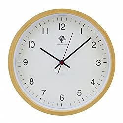 Hippih Silent Wall Clock Wood 8-inches Non Ticking Digital Quiet Sweep Decorative Vintage Wooden Clocks(white)