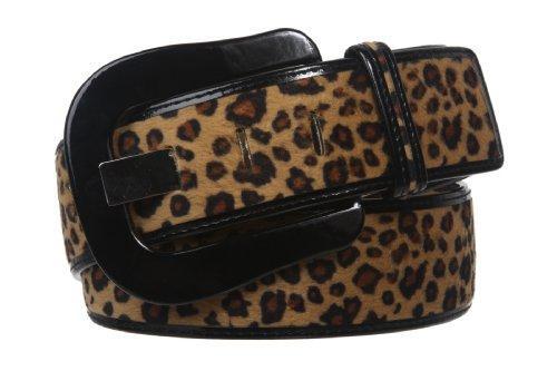 "Womens 1 7/8"" Wide High Waist Patent Leather Leopard Print Animal Fur Belt Size: M/L - 36 Color: Beige"