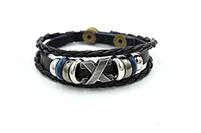 Wild Wind (TM) Mysterious X Multi-Strand Braided Silver Tone Plate Button Adjustable Leather Wrap Bracelet