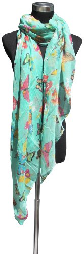 Large Mint Green, Butterfly and Flower Print Chiffon Scarf or Sarong