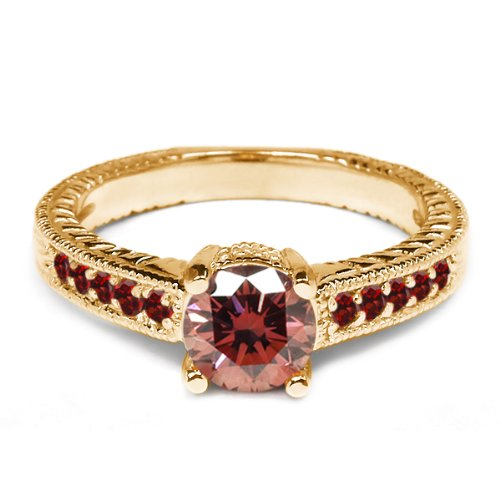 0.95 Ct Round Pink Diamond Red Garnet 18K Yellow Gold Engagement Ring