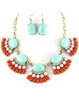 Fit&wit Fashion Golden Chain Colorized Oval Resin Beads Crystal Necklace Earrings Jewelry Sets
