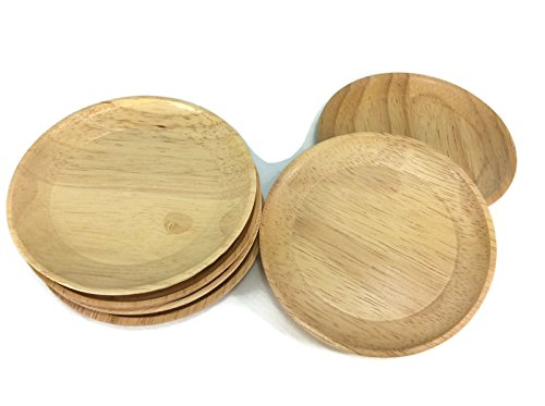 Coasters Wood Round Circle Shape Saucers Handmade Wood Holders Thin Cup Holder 6 Pieces
