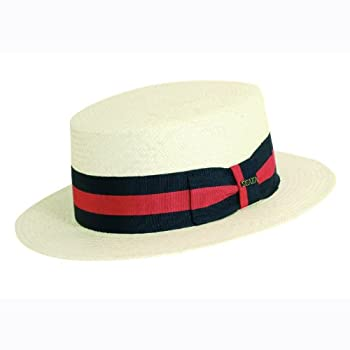 Skimmer panama hat with a two-tone stripe