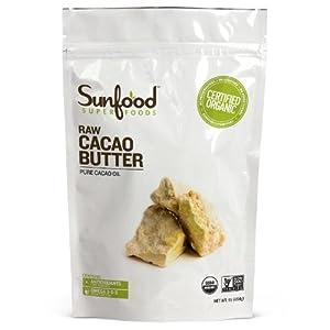 SunFood Organic Golden Cacao Butter -- 1 lb