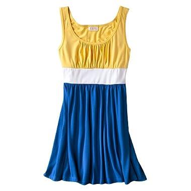 Product Image Mossimo Supply Co. Juniors Color Blocked Tank Dress - Pongee Tint/True White/Bimini Blue L