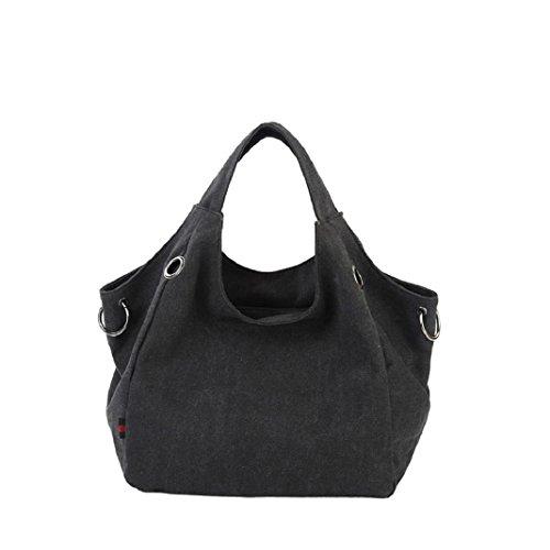 Kingko Borse Donna di tela di canapa dei sacchetti di spalla di alta qualità Shopping Tote di colore della caramella Casual Messenger Bag (Nero)