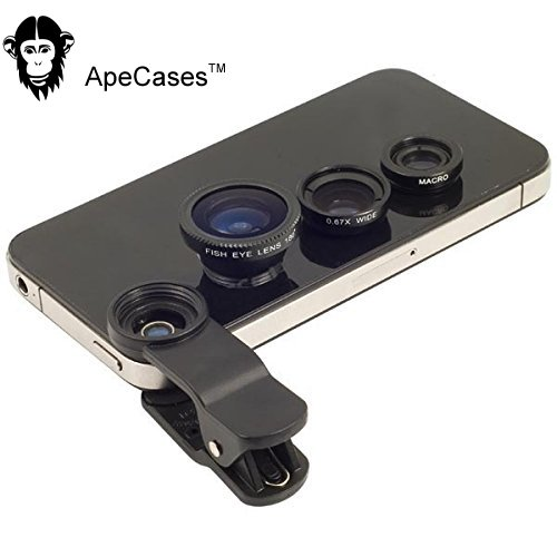 ApeCases Branded Universal 3 in 1 Cell Phone Camera Lens Kit - Fish Eye Lens / 2 in 1 Macro Lens & Wide Angle Lens / Universal Clip with Microfiber Carrying Bag