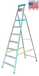 Euro Pro Household Aluminium Step ladder 7 Steps - Made in USA - Folding - Tool Tray - ABS Platform - Ultra Light Weight