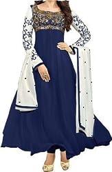 Dipak Fashion New Designer Blue Fancy Embroidery Georgette Salwaar Suit For Women