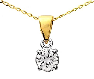 Certified Stylish 9 ct Gold Ladies Solitaire Diamond Pendant + Chain Brilliant Cut 0.50 Carat IJ-I1 - 4mm*4mm