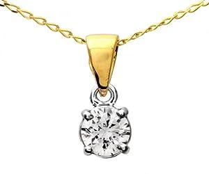 Zertifikat Klassischer 18 Karat (750) Gold Solitär Diamant Anhänger + Kette Brillant-Schliff 0.25 Karat H-SI2 - 4mm*4mm Kette 40 CM