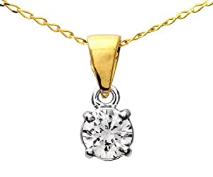 Certified Stylish 9 ct Gold Ladies Solitaire Diamond Pendant + Chain Brilliant Cut 0.50 Carat IJ-I1 - 4mm*4mm Chain 40 CM