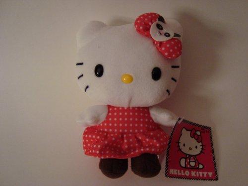 Hello-Kitty-14-cm-Jouet-en-peluche-Motif-Hello-Kitty-en-robe--pois-avec-nud