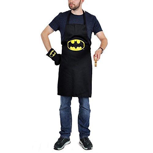 Batman Grillset DC Comics 2-tlg Grillschürze Ofenhandschuh Baumwolle mit Logo schwarz