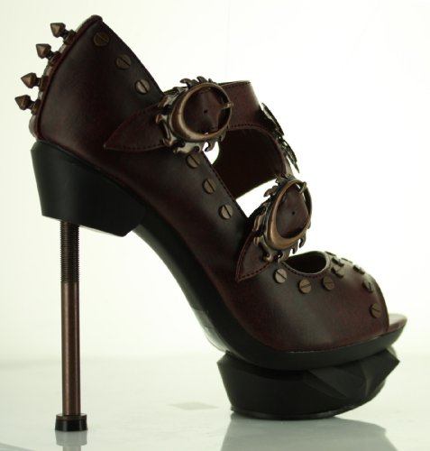 Lades Steampunk Sky Captain High Heel Shoes by Hades, UK Size 4.5 - Burgundy