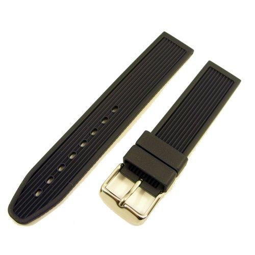ZeitPunkt-Watchband high-class india rubber with scores-design dark-blue 22 mm