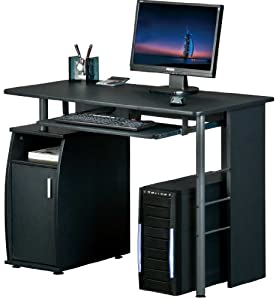 BLACK COMPUTER DESK with a Cupboard and Shelves by Piranha Trading PC1g