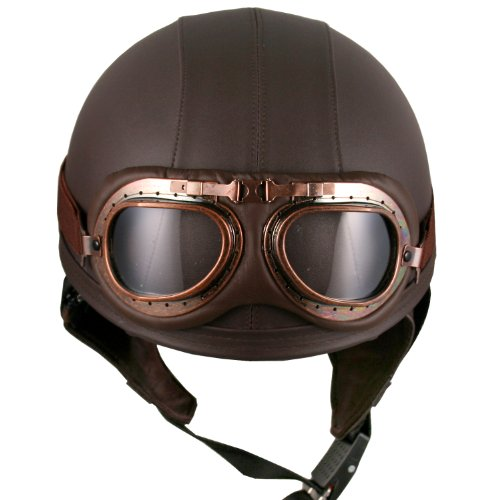 Leather brown motorcycle goggles vintage helmets biker for Best helmet for motor scooter