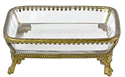 Vintage Footed Clear Glass and Brass Soap Dish with Ornate Details