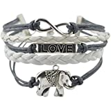 Mother's Day Gift--BlueTop(TM) Love Silver Infinity Elephant Leather Rope Cross Bracelet White and Blue