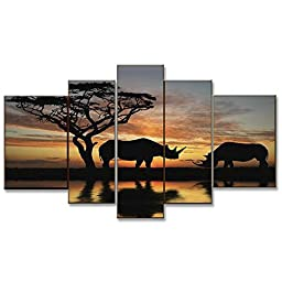 Neron Art - Kenya Landscape Oil Paintings Set of 5 Panels on Gallery Wrapped Canvas overall 56X32 inch