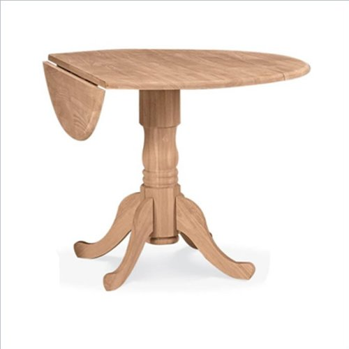 """International Concepts Unfinished Wood 42"""" Dual Drop Leaf Casual Dining Table"""
