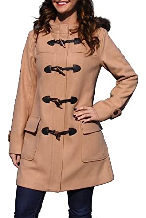 BGSD Women's Wool Blend Hooded Melton Duffle Coat - Camel L
