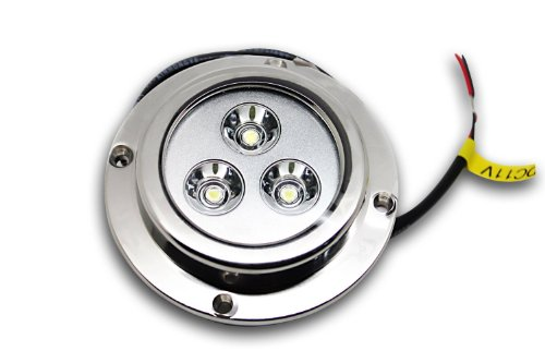 Amarine-made LED Underwater Boat Light 3*3w, Color: White, Stainless Housing, Waterproof Ip 68, Surface Mount by Amarine-made