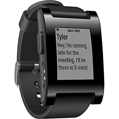 Pebble Smart Watch for iPhone and Android (301BL, Black)