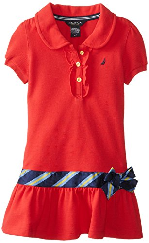 Nautica Little Girls' Pique Dress With Gold Buttons Ruffle Placket And Tie Silk Sash At Drop Waist, Dark Red, 3T front-1077200