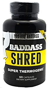 Baddass Nutrition Shred Super Thermogenic Capsules, 60 Count (Pack of 4)