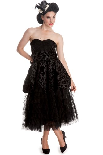 Hell Bunny Gothic Wedding Midnight Ball Black Lace Ruffled Dress