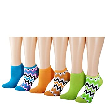 Tipi Toe Women's 12-Pack Colorful Patterned No Show Socks, Size 6-9 (SA69-6)
