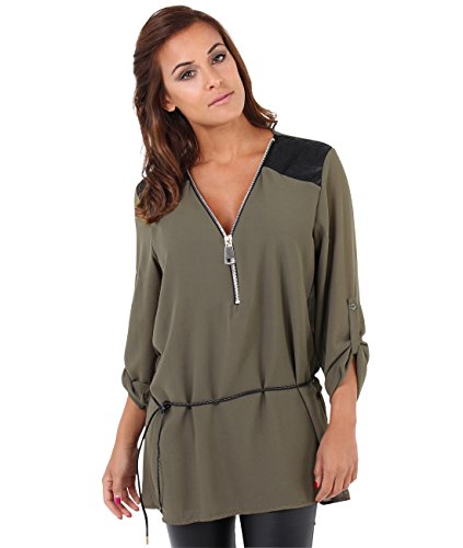 KRISP Plunge Zip V Neck Belted Long Tunic Blouse