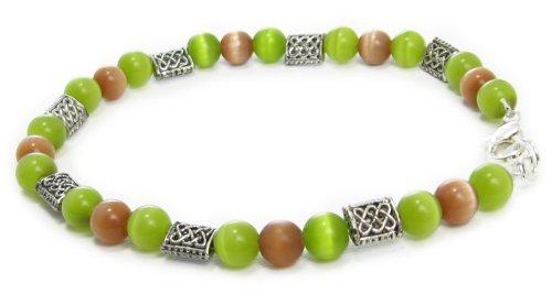 AM4805 – Unique Green & Brown cats eye bead bracelet by Dragonheart – 20cm