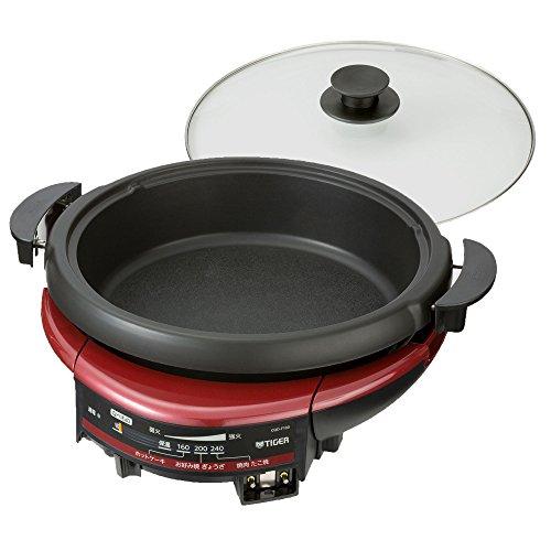 【Amazon.co.jp限定】タイガー グリル鍋 基本セット(本体+深鍋) レッド CQD-F100-R