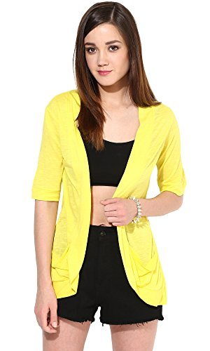 Trend18 Viscose Yellow Pocket Long shrug - Yellow Large  available at amazon for Rs.199