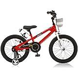 ROYALBABY(ロイヤルベイビー) 18インチ BMXスタイル 子供用自転車 フルカバーチェーンケース リアバンドブレーキ 取っ手付きサドル RB-Freestyle 18 レッド