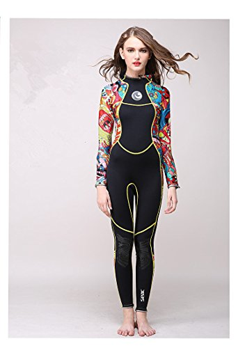 [AZSHARAA long sleeve conjoined 3mm wetsuit keep warm sun protection clothes medusa swimmers surf clothing (Flower color,] (Full Body Costumes Sydney)