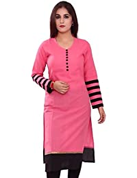Pink & Black Color Cotton Printed Semi-Stitched Kurti-H472KIC2005CN By Surat Tex