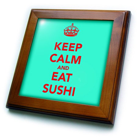 EvaDane - Funny Quotes - Keep calm and eat sushi. Turquoise and Red. - Framed Tiles