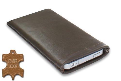 Janney [s]BAG brun Handytasche Handyhülle aus feinstem Nappaleder für dein Anycool Enjoy W02 mit einseitigem Strahlenschutz und Display Reinigungsfunktion durch Microfaserinnenfutter