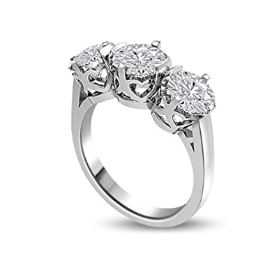 0.90 carat 3 Diamond Trilogy Promise Ring for Women. H/SI1 Round Brilliant Diamond in 18ct White Gold