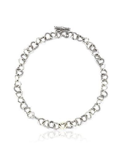David Yurman Silver & 18K Gold Heart Chain Necklace