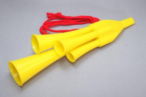 スポーツ観戦の必需品 応援ラッパ 4連チアホーン 3本セット イエロー 黄色