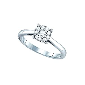 18kt White Gold Womens Round Natural Diamond Cluster Bridal Wedding Engagement Ring (1.00 cttw.)